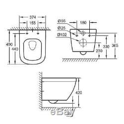 Grohe Euro Ceramic Euroceramic Rimless Wall Hung Wc Toilet+ Soft Closing Seat