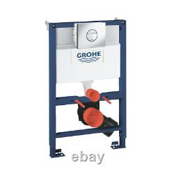 Grohe Rapid Sl Wc Frame 0,82 + Rimless Wall Hung Toilet Pan & Soft Close Seat