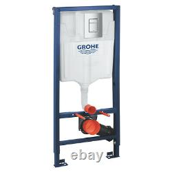 Grohe Rapid Sl Wc Frame + Rimless Wall Hung Toilet Pan With Soft Close Seat Set