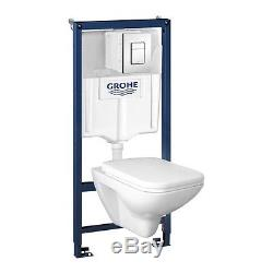Grohe Rapid Sl+senner Wall Hung Toilet+soft Close Seat+dual Flush Button