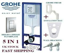 Grohe Sl 5in1 Wall Hung Toilet Frame Skate Chrome Plate+ Brackets+ Mat+ Fresh