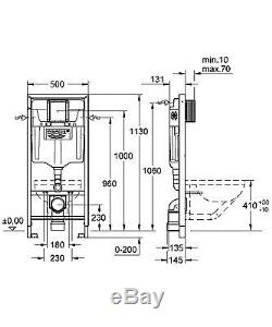 Grohe rapid 7in1 concealed wall hung toilet cistern wc frame skate plate & pan