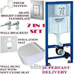 Grohe rapid wc 7in1 frame, wall hung toilet cistern skate plate & rimless pan