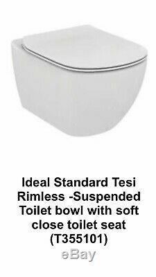 Ideal Standard Wall Hung Wc Tesi Aquablade Toilet With Soft Closing Slim Seat