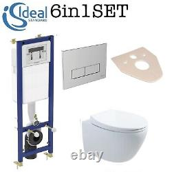 Ideal Standard Wc Frame + Rimless Wall Hung Toilet Pan With Soft Close Seat Set