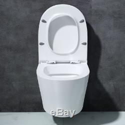 Luxury White Ceramic Wall Hung Round Toilet With D Shape Soft Close Seat