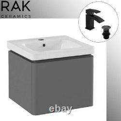 Matt Grey 500 Wall Hung Basin Sink Vanity Unit 1 Drawer Bathroom Cabinet