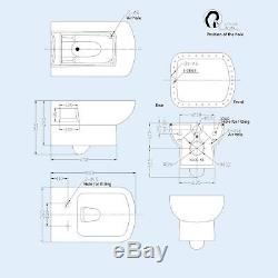 Mestole Bathroom Wall Hung Wc Toilet Frame Concealed Cistern & Soft Close Seat