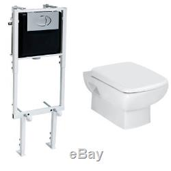 Metro 2 Bathroom Wall Hung Wc Toilet Frame Concealed Cistern & Soft Close Seat