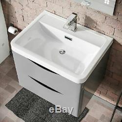 Modern 600 Light Grey Basin Sink Vanity Wall Hung Close Coupled Toilet Lyndon