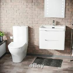 Modern 600 mm White Basin Sink Vanity Wall Hung and Close Coupled Toilet Lyndon