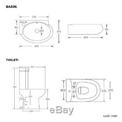 Modern Bathroom Cloakroom Set with Toilet & Wall Hung Basin Gloss White