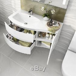 Modern Curved Bathroom Furniture Vanity Unit Wall Hung Close Coupled Toilet