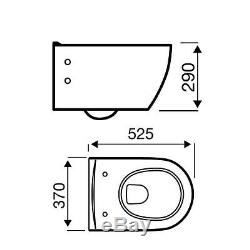 Modern D Shape Wall Hung Mounted Toilet WC Pan Soft Close Seat 525mm Projection