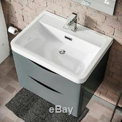 Modern Grey Basin Sink Vanity Wall Hung and Rimless Close Coupled Toilet Lyndon