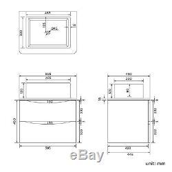 Modern Wall Hung Bathroom Storage Furniture Unit & Counter Top Basin Sink Oak