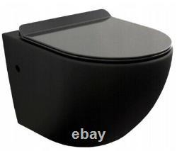 Modern Wall Hung Bathroom Toilet Pan WC Soft Close Toilet Seat Black Gloss