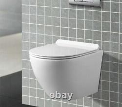 Modern Wall Hung Bathroom Toilet Pan WC Soft Close Toilet Seat White