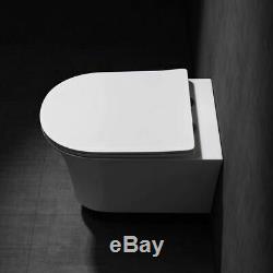 Modern Wall Hung Bathroom Toilet Pan WC Soft Close Toilet Seat White