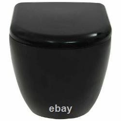 Modern Wall Hung Toilet Concealed Cistern Ceramic Black Dual Flush Soft Close