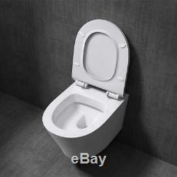 Modern Wall Mounted Toilet Glossy White Ceramic With D Shaped Soft Close Seat