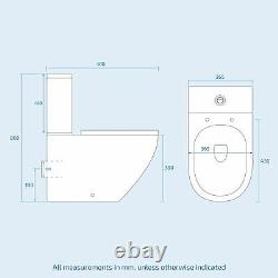 Modern White Basin Sink Vanity Wall Hung & Rimless Close Coupled Toilet Merton