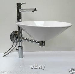 Modern bathroom cloakroom 450mm vanity wash basin sink wallhung round tap KUSASI