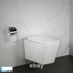 NEW Mauri Toilet WC Wall Hung Mounted Cloakroom Square Soft Close Seat