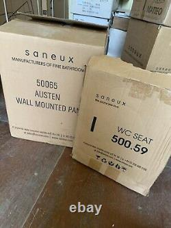 New SANEUX AUSTEN Rimless Wall Hung WC Pan 50065 & Soft Close Seat Cover 500.59