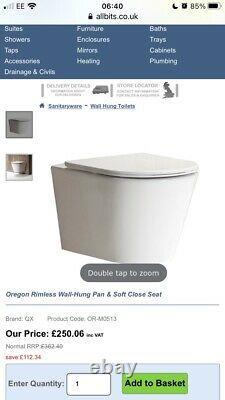 Oregon Rimless Wall Hung Toilet Pan And Soft Close Seat