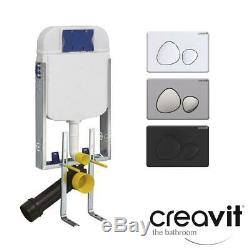 Pebble WC Concealed Wall Hung Toilet Cistern Frame Dual Flush Plate Push Button
