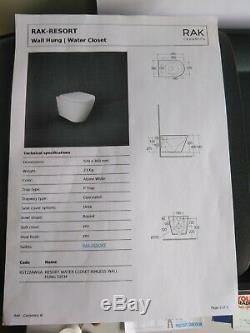 RAK Ceramics Resort Rimless Wall Hung WC Toilet Pan & Soft Close Seat