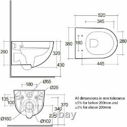 RAK Des Rimless Wall Hung Toilet with Hidden Fixing 520mm Projection Soft Clos