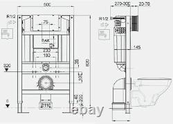 RAK Ecofix Concealed Toilet Cistern Frame Bathroom Wall Hung Dual Flush 820mm