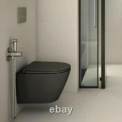 RAK Feeling Bathroom Wall Hung Toilet Pan Rimless Matt Black Soft Close Seat