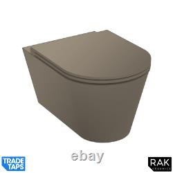 RAK Feeling Wall Hung RIMLESS Flush Toilet Pan & Soft Close Seat Matt Cappuccino