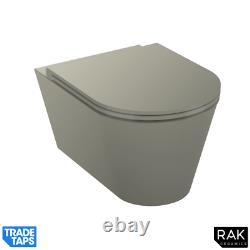 RAK Feeling Wall Hung RIMLESS Flush Toilet WC Pan & Soft Close Seat Matt Greige