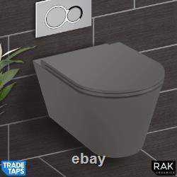 RAK Feeling Wall Hung RIMLESS Flush Toilet WC Pan & Soft Close Seat Matt Grey