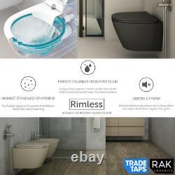 RAK Feeling Wall Hung RIMLESS Flush Toilet WC Pan & Soft Close Seat Matt White