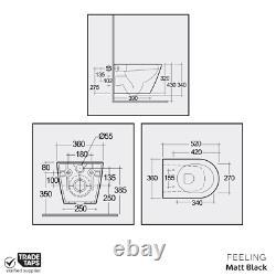 RAK Matt Black Rimless Wall Hung Toilet WC Pan, Soft Close Seat & Flush Plate