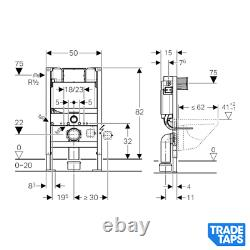 RAK Matt Black Wall Hung Toilet WC Pan & GEBERIT 0.82m Cistern Frame Flush Plate