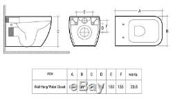 RAK Metropolitan Square Wall Hung WC Toilet Pan & Seat Concealed Cistern Frame
