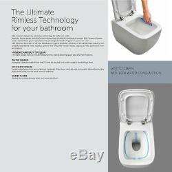 RAK Moon Rimless Wall Hung Toilet Hidden Fixations 560mm Depth Soft Close Seat