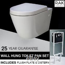 RAK Resort RIMLESS Wall Hung Toilet Pan & Concealed Frame Cistern & Flush Plate