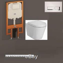 RAK Resort Rimless Toilet WC Pan & Soft Close Seat Wall Hung Dual Cistern Frame
