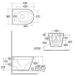 RAK Resort Rimless Wall Hung Toilet Hidden Fixations 520mm Soft Close Seat