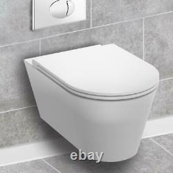 RAK Resort Short Projection RIMLESS Soft Close Wall Hung Toilet & Cistern Frame
