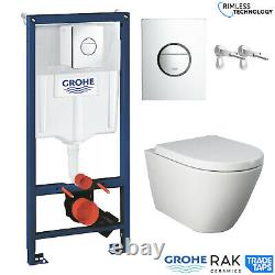 RAK Resort Wall Hung Toilet Rimless Pan, Seat GROHE Concealed Cistern Frame