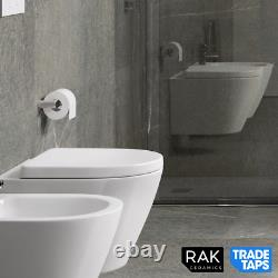 RAK Rimless Flush Resort Wall Hung WC Toilet Pan with Wrap Over Seat & Fixings