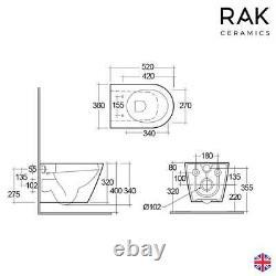 RAK Rimless Resort Wall Hung WC Toilet Pan With SLIMLINE SANDWICH Seat & Fixings